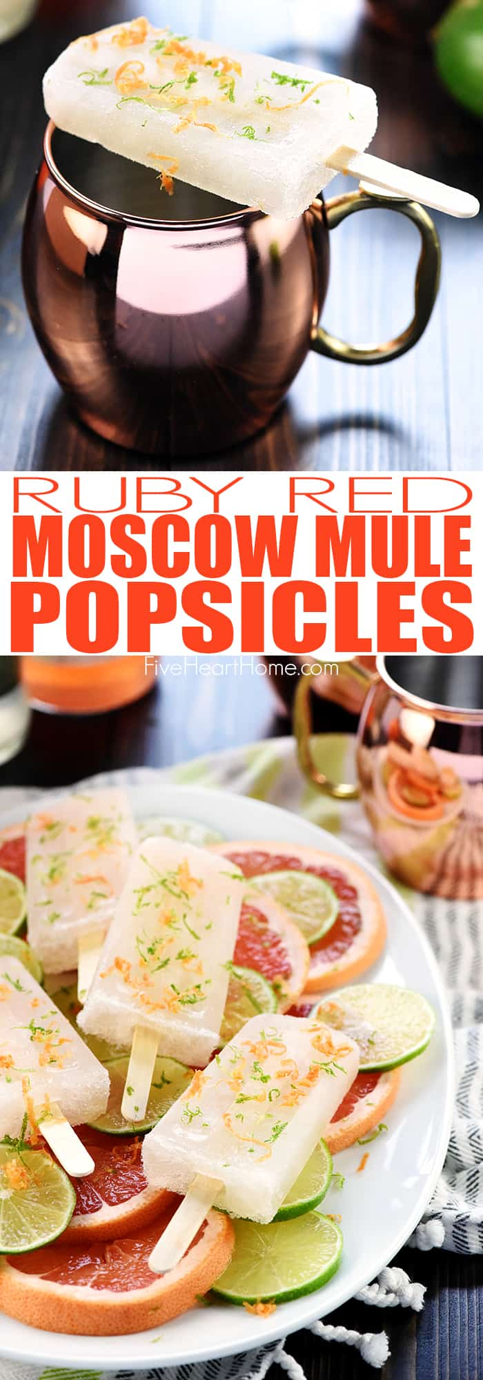 Ruby Red Moscow Mule Popsicles Collage with Text Overlay