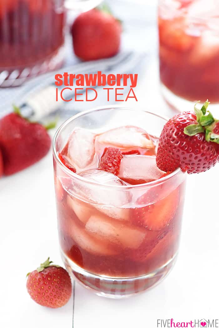 Strawberry Iced Tea with text overlay