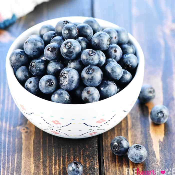 Bowl of Fresh Blueberries for Whole Wheat Lemon Blueberry Muffins