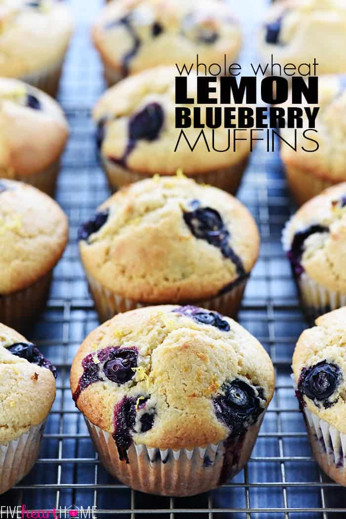 Whole Wheat Lemon Blueberry Muffins with Text Overlay