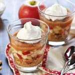 Healthy Apple Pie Snack Cups ~ layers of graham cracker crumbs, diced apples, cinnamon applesauce, and whipped cream make a wholesome after-school snack or dessert that tastes just like apple pie!   FiveHeartHome.com