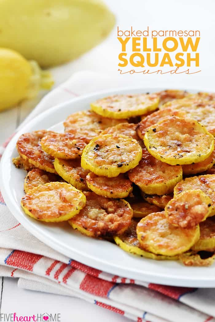 Baked Parmesan Yellow Squash Recipe with text overlay