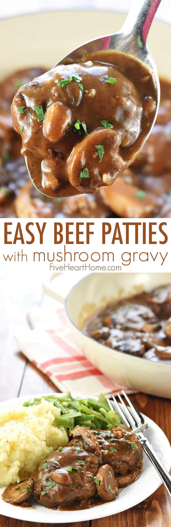 Easy Beef Patties with Mushroom Gravy ~ these mini Salisbury steaks in a rich, savory, gravy loaded with fresh mushrooms are a classic, comforting, ground beef dinner recipe! | FiveHeartHome.com