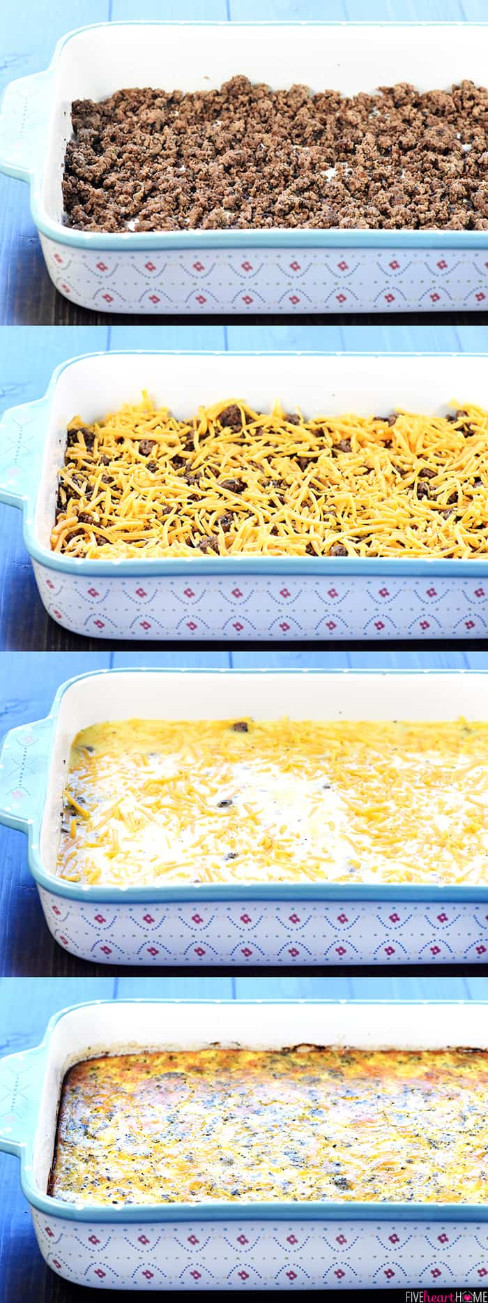 Collage showing steps: ground beef in dish, topped with cheese, topped with eggs, and then baked