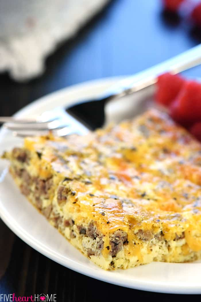Close-up of slice of Breakfast Casserole showing ground beef, cheese, and egg