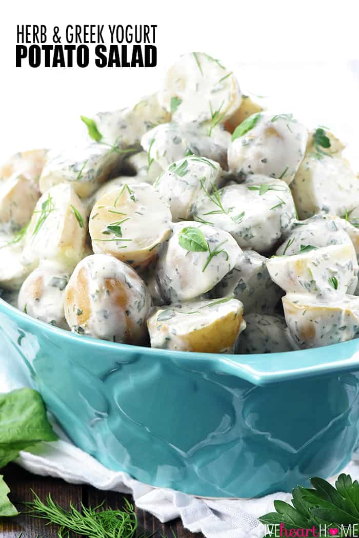 Herb & Greek Yogurt Potato Salad ~ a creamy, lightened-up, versatile side dish recipe with loads of flavor from fresh herbs! | FiveHeartHome.com