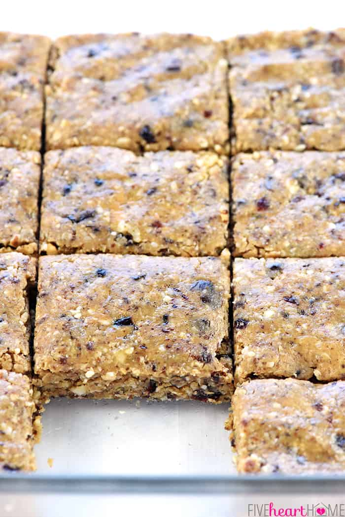 No-Bake Oatmeal Peanut Butter Energy Bars ~ quickly come together in the food processor with wholesome ingredients like oats, nuts, chia seeds, peanut butter (or your favorite alternative), dried fruit, and honey! | FiveHeartHome.com