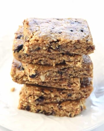 Stack of No-Bake Oatmeal Peanut Butter Energy Bars