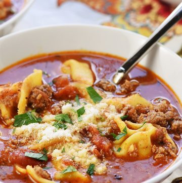 Bowl of Tortellini Lasagna Soup.