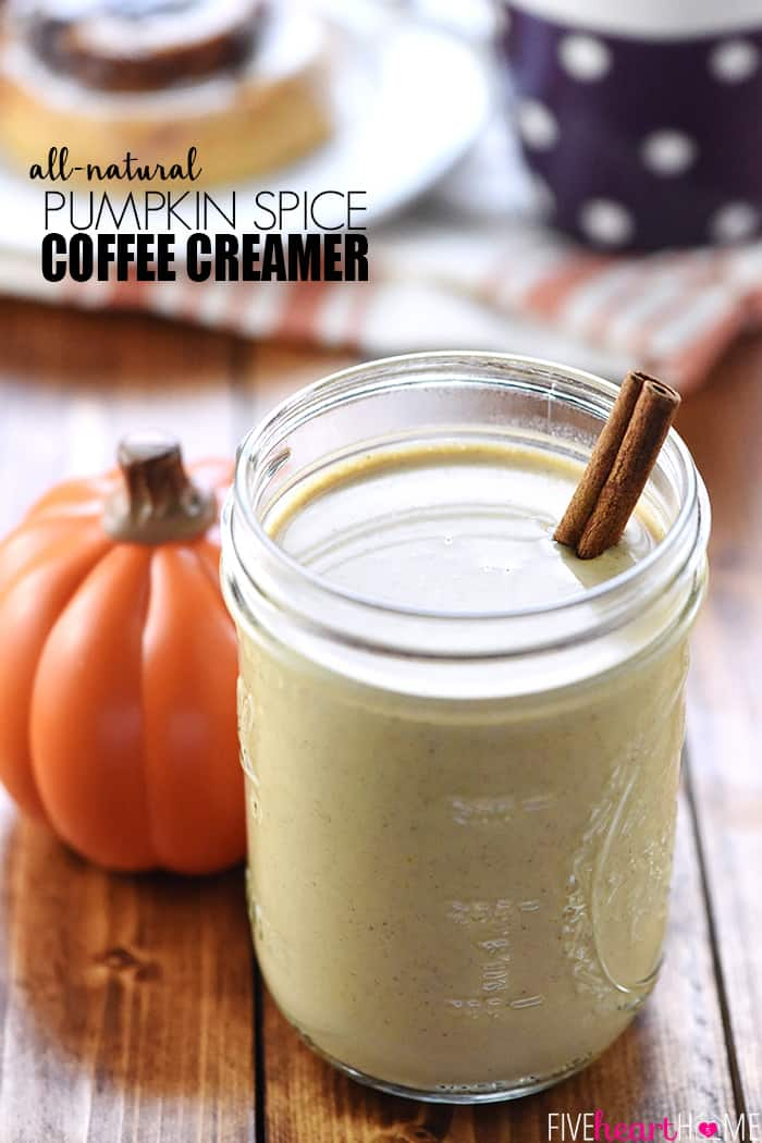 Homemade Pumpkin Spice Coffee Creamer Recipe ~ made with real pumpkin puree and warm spices for all-natural, Starbucks copycat, Pumpkin Spice Lattes at home! | FiveHeartHome.com