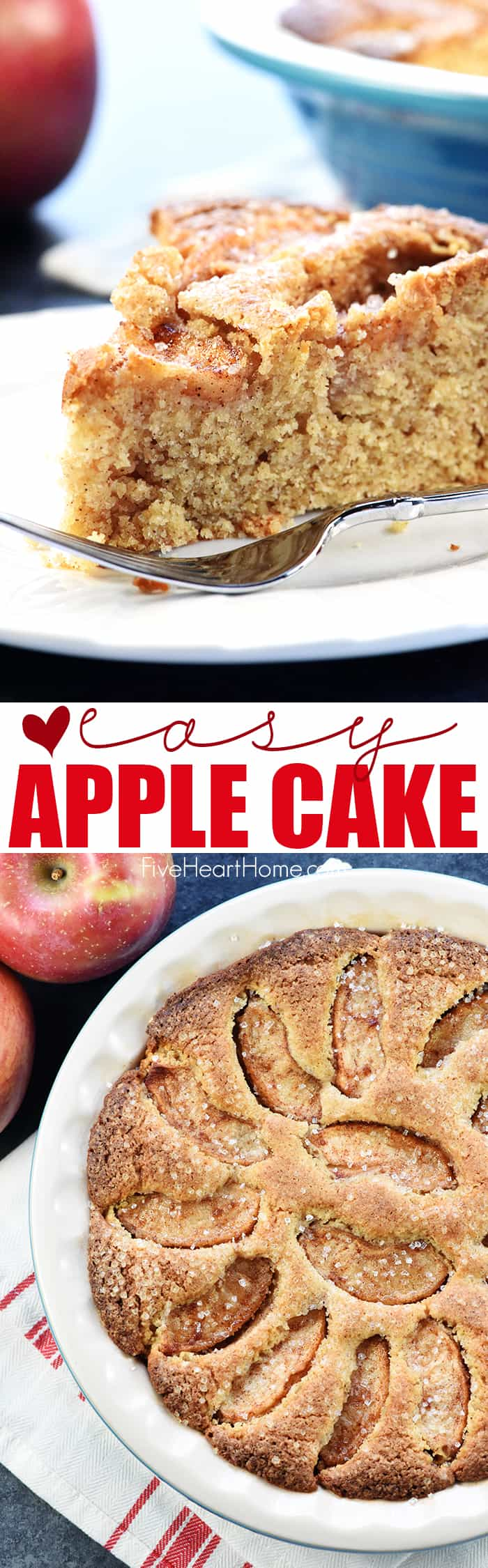 Easy Apple Cake ~ a quick cinnamon-kissed batter and a crown of sliced apples add up to a sweet, simple dessert that's perfect for fall or any time of year! | FiveHeartHome.com