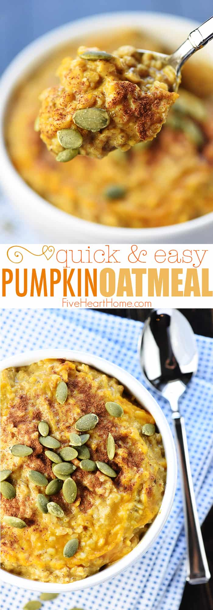 Quick & Easy Pumpkin Oatmeal ~ a healthy, yummy fall breakfast recipe loaded with pumpkin, almond butter, chia seeds, and cinnamon & spices, sweetened with a touch of maple syrup, and topped with roasted pumpkin seeds! | FiveHeartHome.com