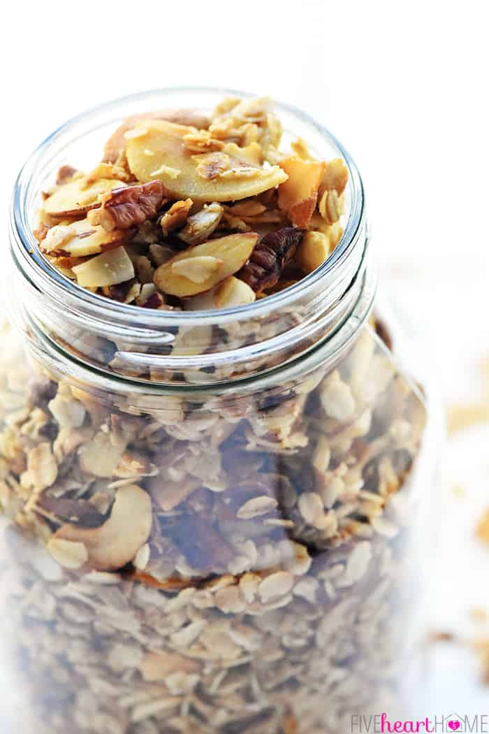 Close-up of Glass Jar filled with granola