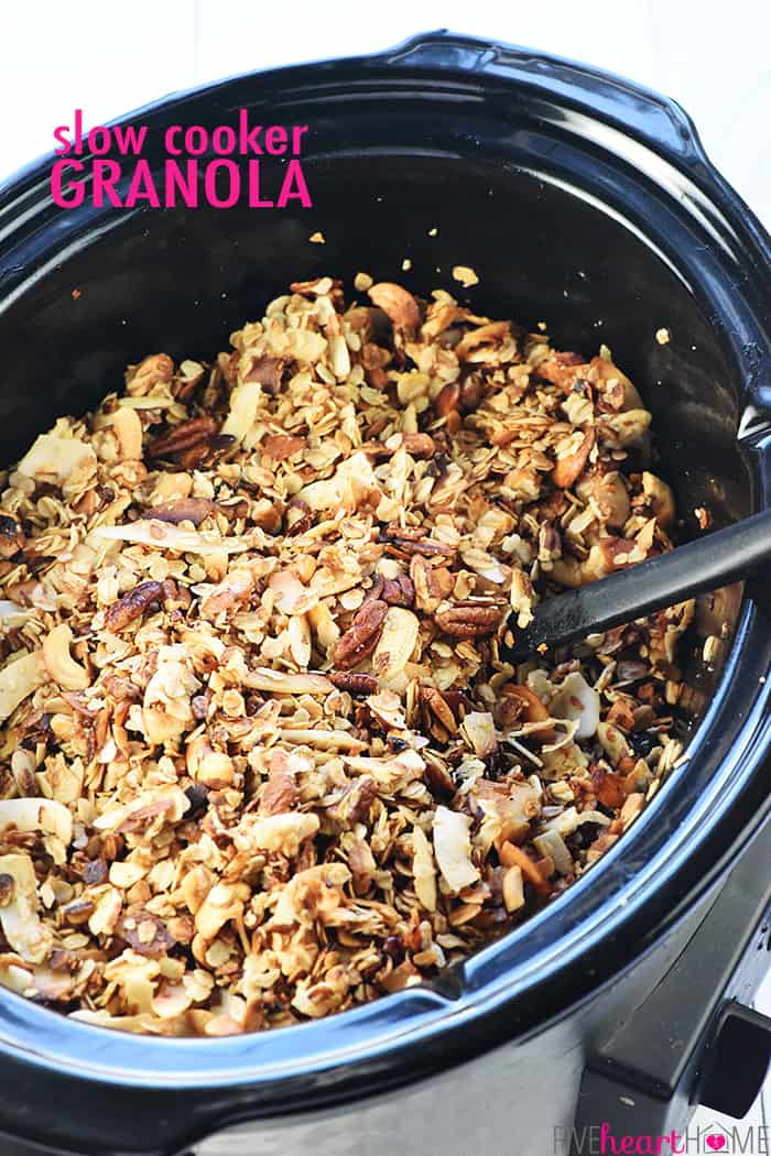 Slow Cooker Granola with Text Overlay