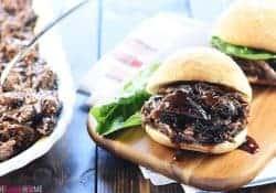 Slow Cooker Honey Balsamic Shredded Beef Sandwiches
