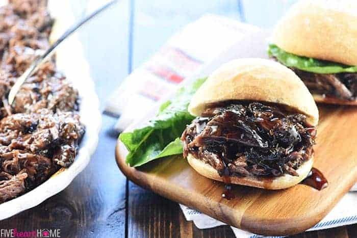 Slow Cooker Honey Balsamic Shredded Beef Sandwiches
