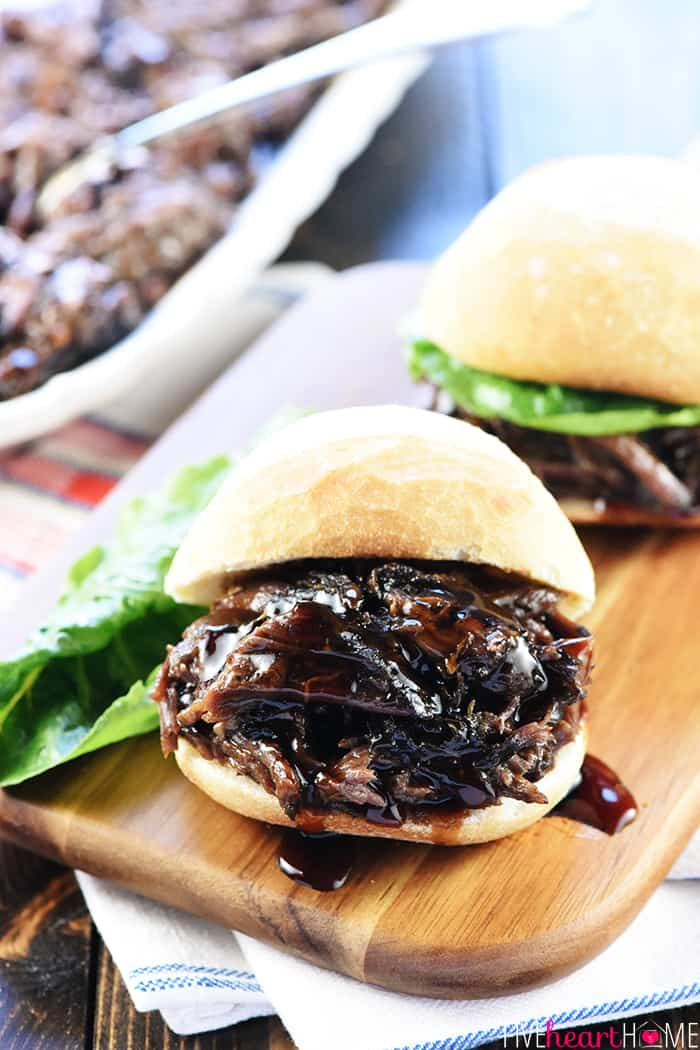 Slow Cooker Honey Balsamic Shredded Beef Sandwiches ~ a delicious, effortless, satisfying crock pot recipe perfect for busy weeknight dinners, parties, or game day! | FiveHeartHome.com