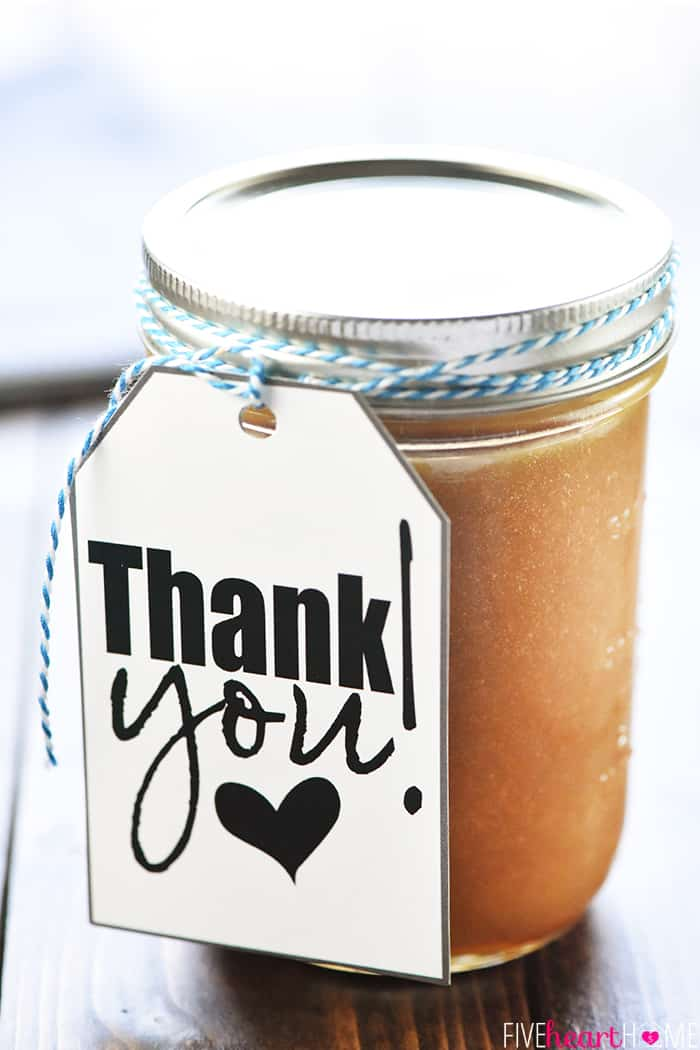 Homemade Caramel Sauce Gift with Thank You Tag