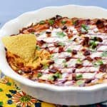 BBQ Chicken Dip ~ a creamy, zippy, decadent appetizer recipe that can be made in the slow cooker, on the stovetop, or in the oven, perfect for parties and football tailgating! | FiveHeartHome.com