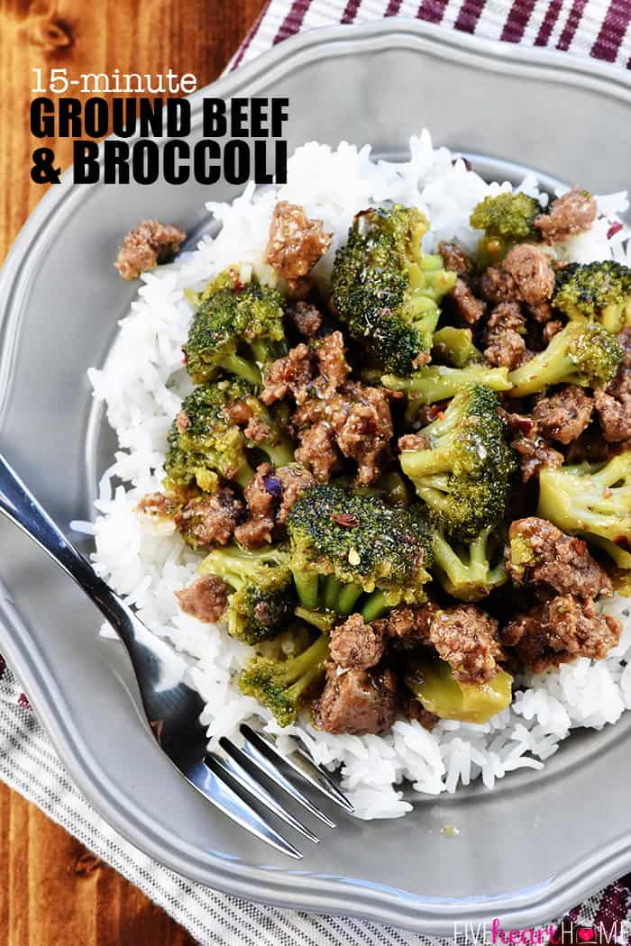 Ground Beef and Broccoli ~ a healthy, quick, and easy skillet recipe that comes together in 15 minutes in just one pan! | FiveHeartHome.com