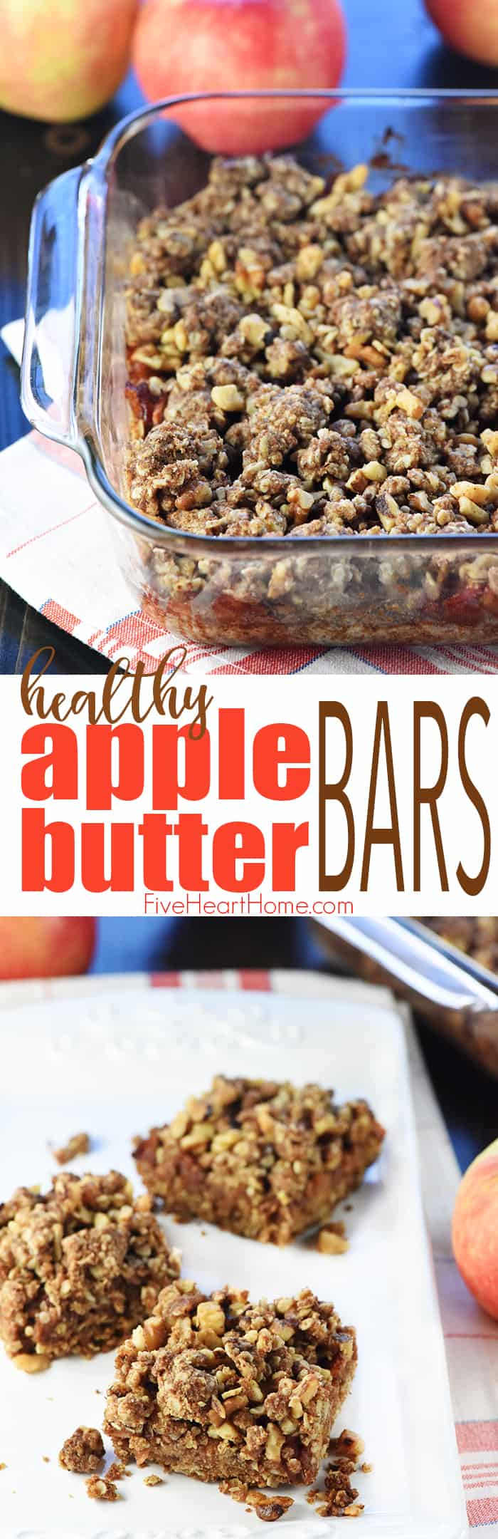 Healthy Apple Butter Bars ~ loaded with oatmeal, chopped apples, apple butter, and nuts for a delicious, wholesome breakfast or snack! | FiveHeartHome.com