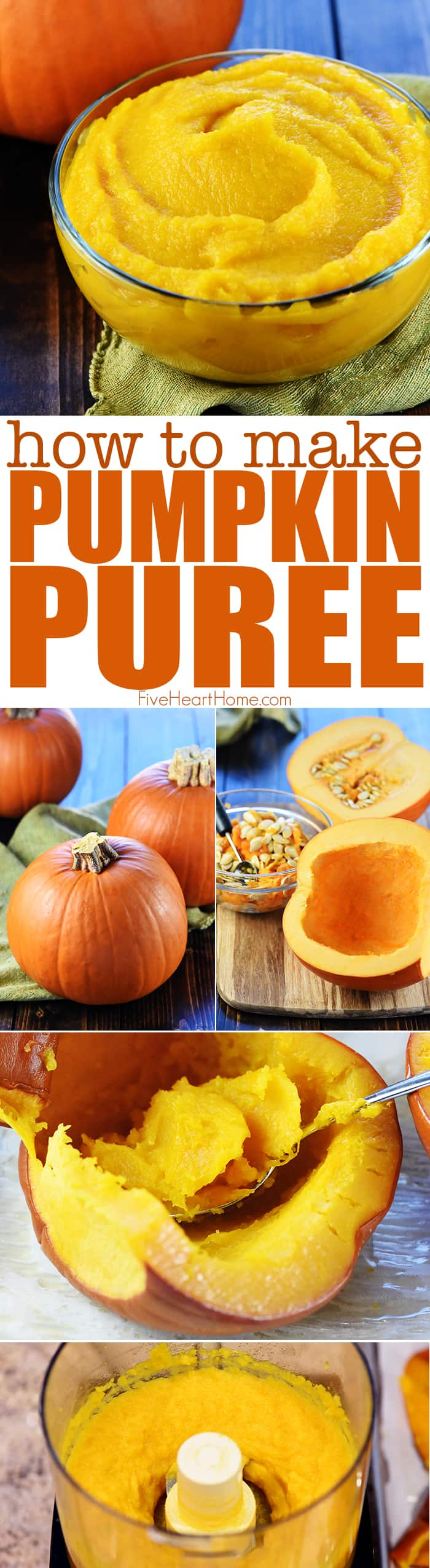 Homemade Pumpkin Puree Recipe ~ step-by-step directions for how to make pumpkin puree...it's easy to make this healthy and delicious base for all of your favorite pumpkin recipes! | FiveHeartHome.com