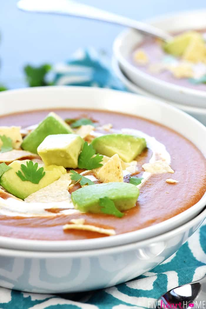 Mexican Lentil Soup in Bowl with Garnishes