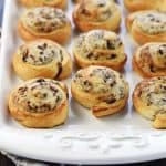 Blue Cheese, Cranberry, & Pecan Crescent Pinwheels ~ feature refrigerated crescent rolls and a flavorful cream cheese filling for a quick and easy appetizer! | FiveHeartHome.com