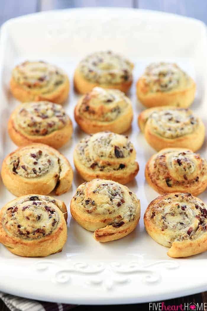 Blue Cheese Cranberry Pecan Crescent Pinwheels
