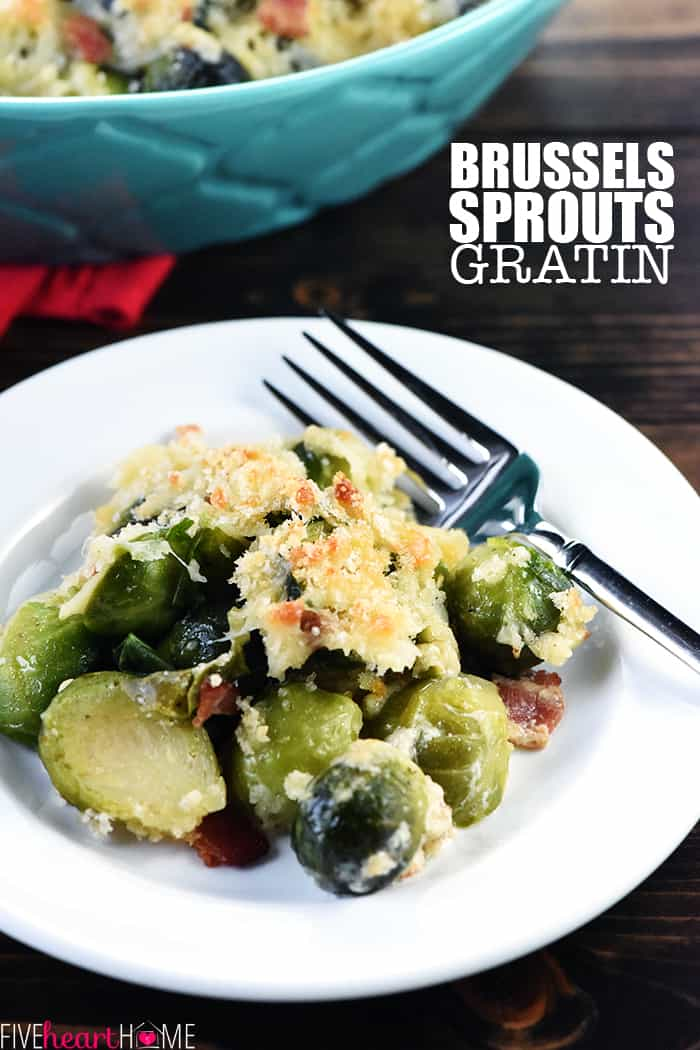 Brussels Sprouts Gratin ~ a cheesy, decadent, delicious side dish recipe loaded with bacon, Gruyere, and crunchy breadcrumbs...perfect for dinner parties or holiday menus! | FiveHeartHome.com