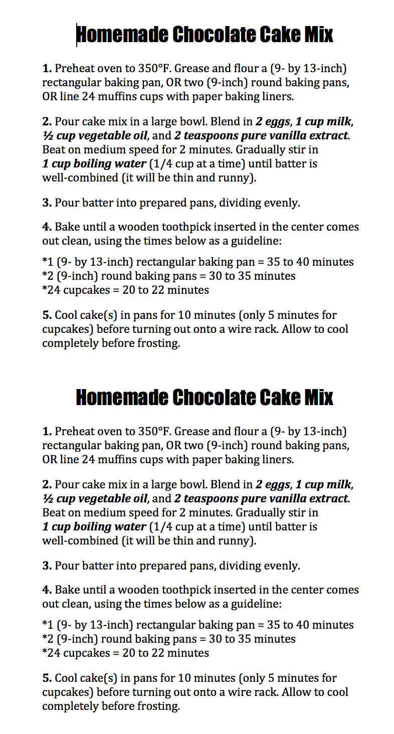 Homemade Chocolate Cake Mix Directions