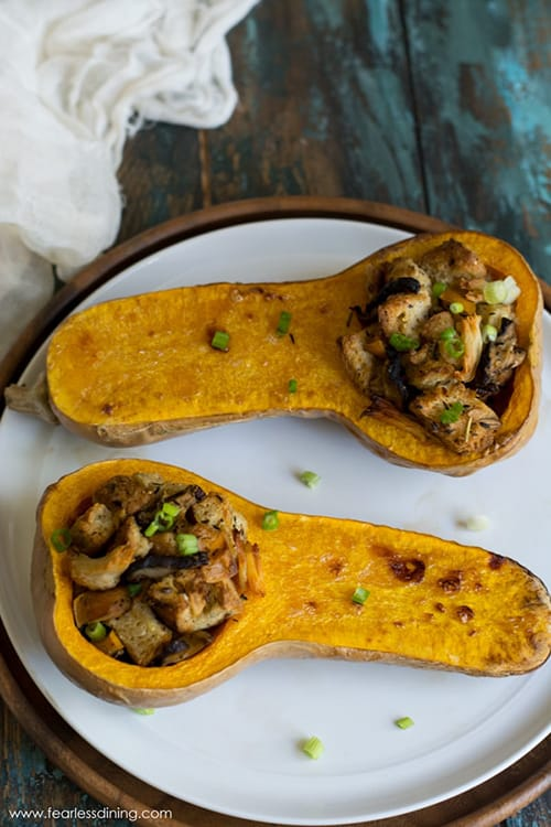 Leftover Stuffing-Stuffed Butternut Squash