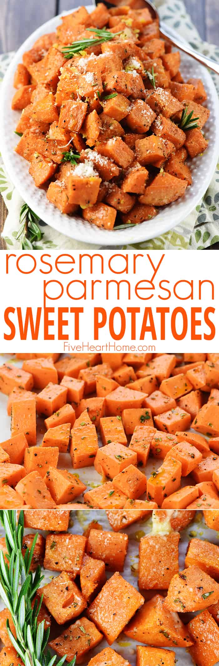 Rosemary Parmesan Roasted Sweet Potatoes ~ a simple, healthy, savory-sweet recipe that's the perfect side dish for a regular weeknight dinner or a special holiday menu! | FiveHeartHome.com
