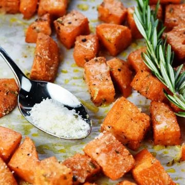 Savory Sweet Potatoes with Rosemary & Parmesan.