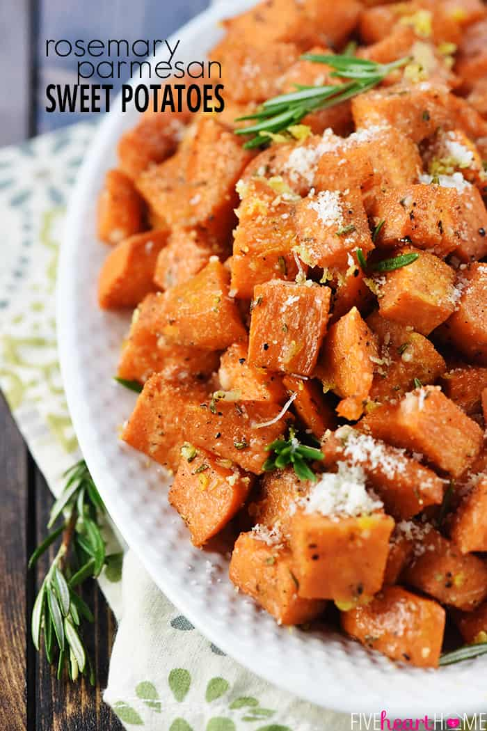 Rosemary Parmesan Sweet Potatoes ~ a simple, healthy, savory-sweet recipe that's the perfect side dish for a regular weeknight dinner or a special holiday menu! | FiveHeartHome.com