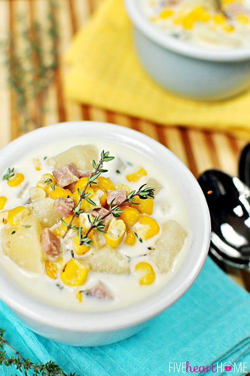 Slow Cooker Corn & Potato Chowder with Ham