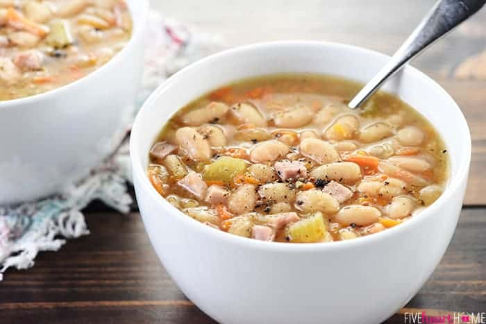 Slow Cooker White Bean & Ham Soup ~ a hearty, wholesome, comforting crock pot recipe that's perfect for using up leftover holiday ham! | FiveHeartHome.com