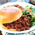 The Best Sloppy Joe recipe, piled on a bun on a plate with sides.