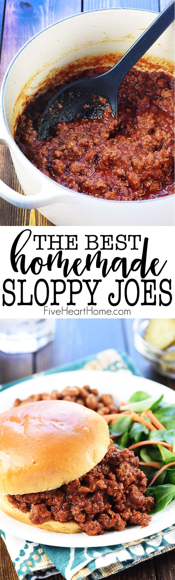 The BEST Homemade Sloppy Joes ~ delicious as well as quick and easy to make using real ingredients in lieu of a store-bought can of sauce! | FiveHeartHome.com via @fivehearthome