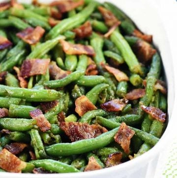 Bacon Green Bean Casserole ~ a delicious holiday or everyday side dish recipe, with fresh green beans and crispy bacon in a sweet & savory brown sugar glaze! | FiveHeartHome.com
