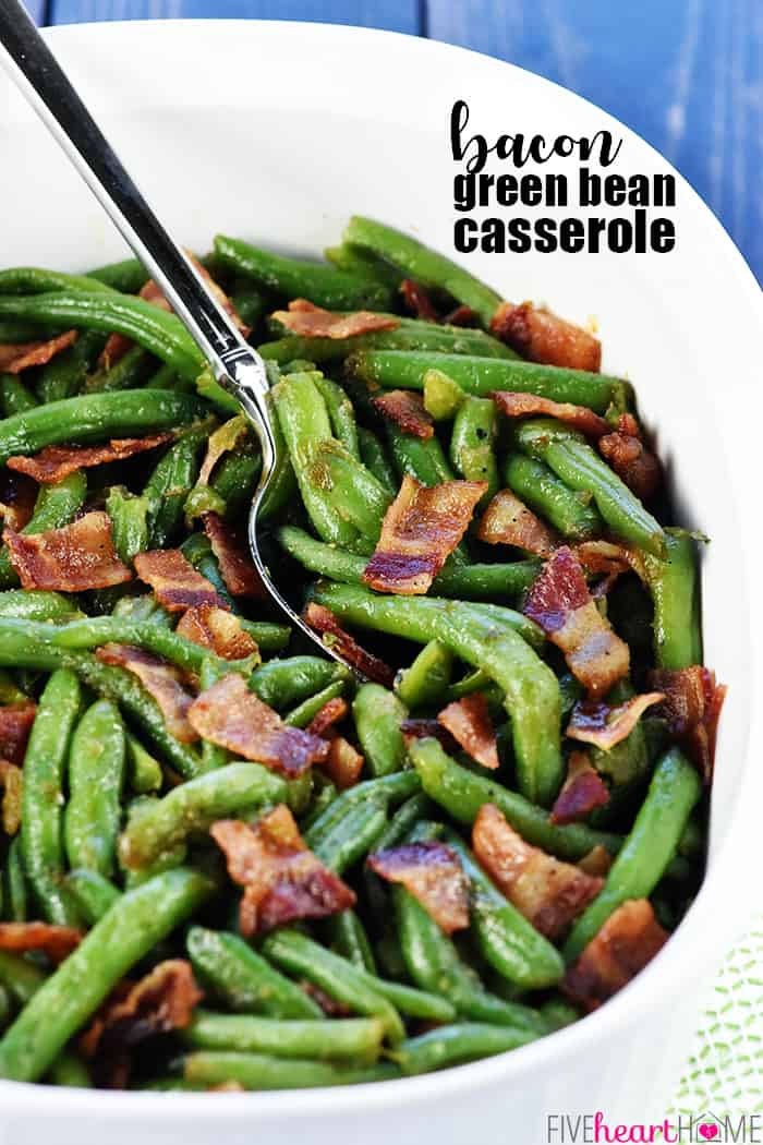 Green Bean Casserole with Bacon and Brown Sugar ~ a delicious holiday or everyday side dish recipe, with fresh green beans and crispy bacon in a sweet & savory brown sugar glaze! | FiveHeartHome.com