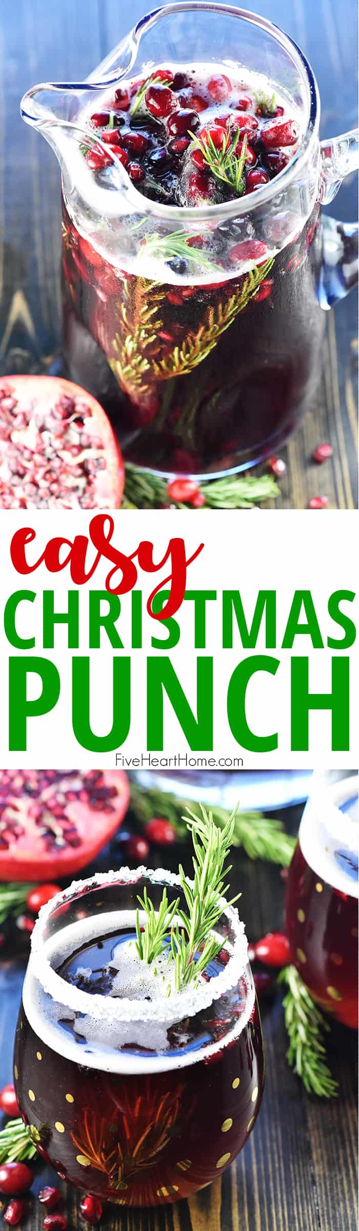 Easy Christmas Punch ~ a festive, sparkling, boozy holiday beverage featuring champagne, pomegranate juice, and cranberry juice that's perfect for Christmas or New Year's Eve parties...and it's easy to make a non-alcoholic version as well! | FiveHeartHome.com via @fivehearthome