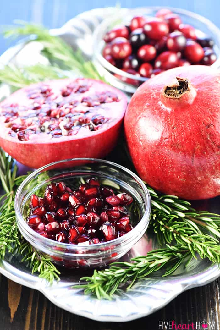 Garnishes and Ingredients of Pomegranate, Cranberries and Rosemary
