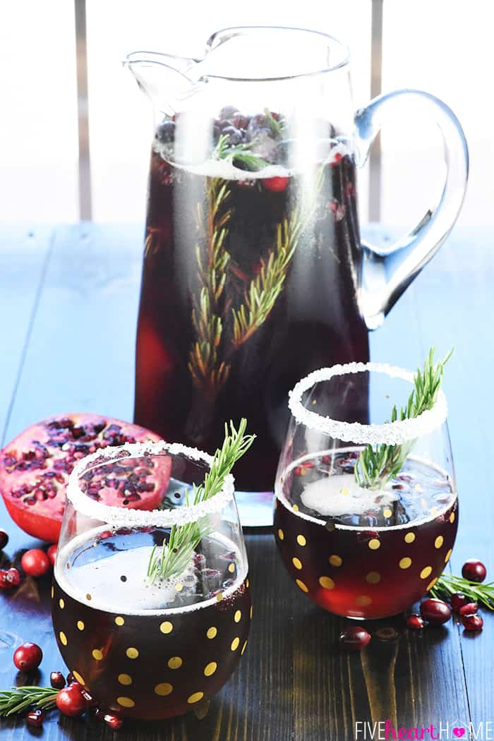 Glass Pitcher and Two Glasses of Easy Christmas Punch