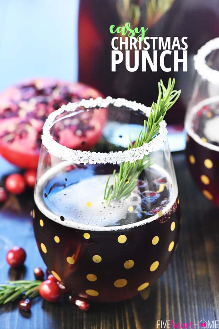 Christmas Punch ~ an easy, festive, sparkling, boozy holiday beverage featuring champagne, pomegranate juice, and cranberry juice that's perfect for Christmas or New Year's Eve parties...and it's easy to make a non-alcoholic version as well! | FiveHeartHome.com
