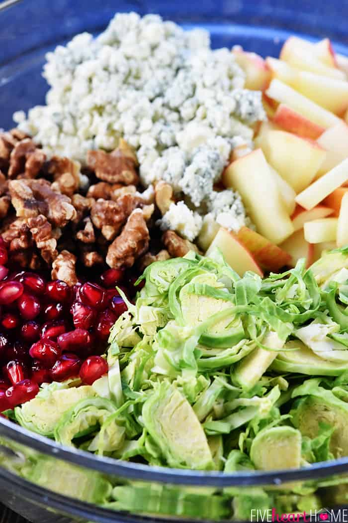 Brussels Sprouts Salad with Apple, Pomegranate, Walnuts, & Blue Cheese