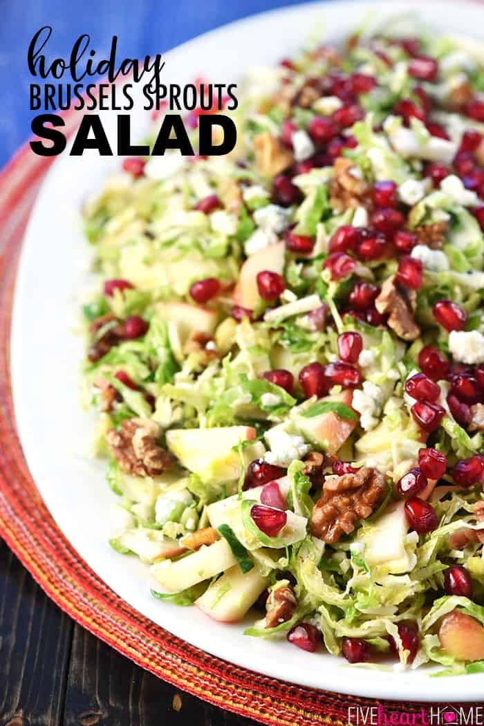 Holiday Brussels Sprouts Salad Recipe ~ loaded with fresh shaved Brussels sprouts, crisp apple, tangy-sweet pomegranate, toasty walnuts, and zippy blue cheese for a fresh, healthy, gorgeous salad that's perfect for any meal! | FiveHeartHome.com