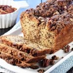 Pecan Praline Bread ~ a delicious quick bread recipe with a tender crumb and a ribbon of brown sugar pecans for added sweetness and crunch! | FiveHeartHome.com