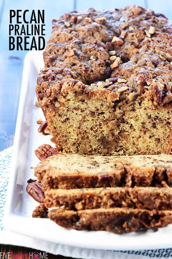 Pecan Praline Bread Recipe ~ a delicious quick bread with a tender crumb and a ribbon of brown sugar pecans for added sweetness and crunch! | FiveHeartHome.com