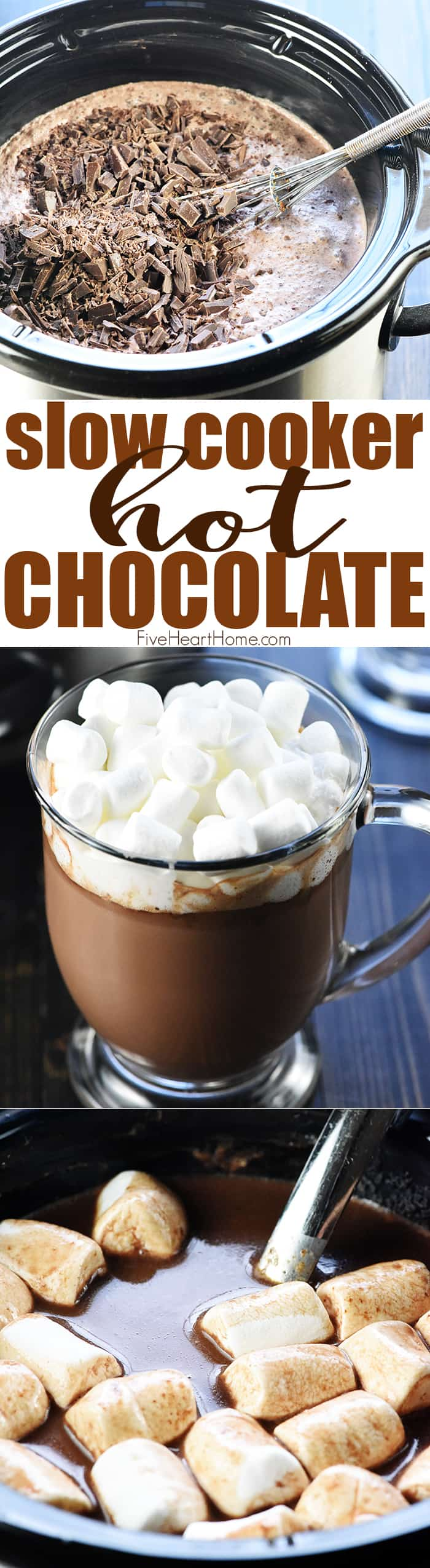 Slow Cooker Hot Chocolate ~ using a crock pot is the easiest way to make a big batch of rich, decadent hot cocoa for a crowd, and four flavor variations make it extra yummy: regular, salted caramel, peppermint, and Mexican hot chocolate! | FiveHeartHome.com via @fivehearthome